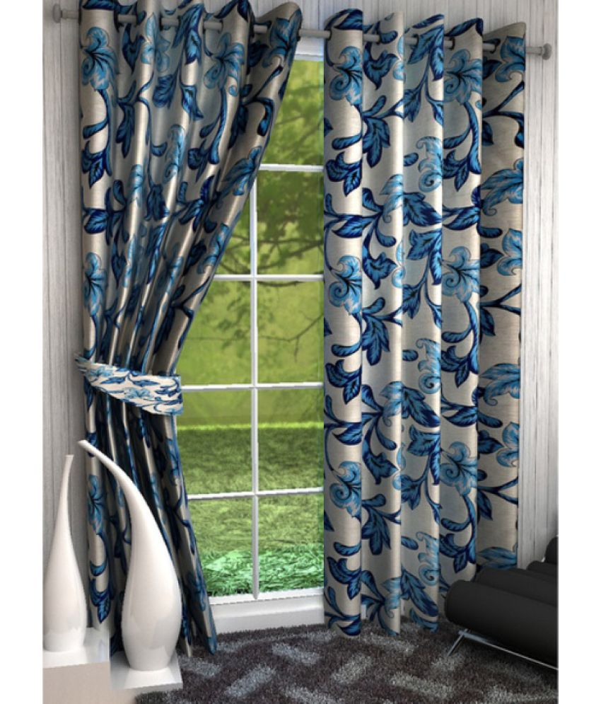 Akshya Set Of 2 Window Eyelet Curtains Floral Blue Snapdeal Rs. 469.00