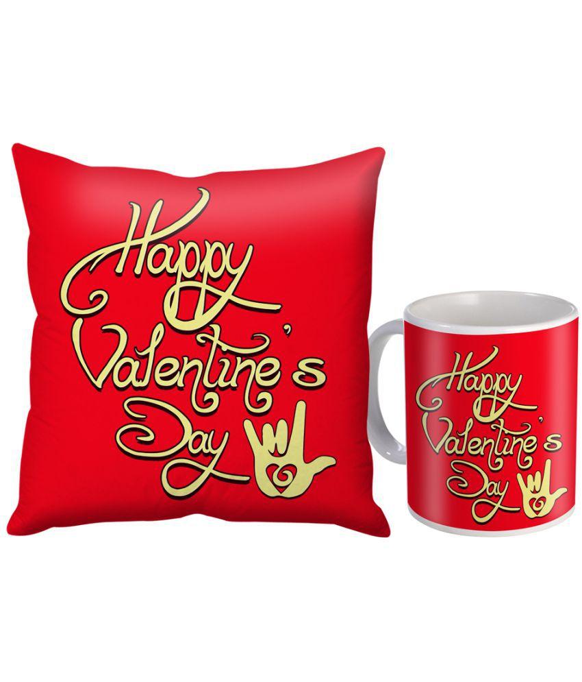 Skytrends Ceramic Coffee Mug 325 ml with Cushion Cover