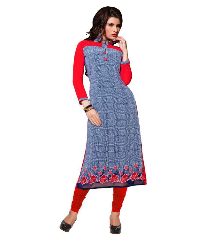 Chigy Whigy Blue Georgette A-line Kurti