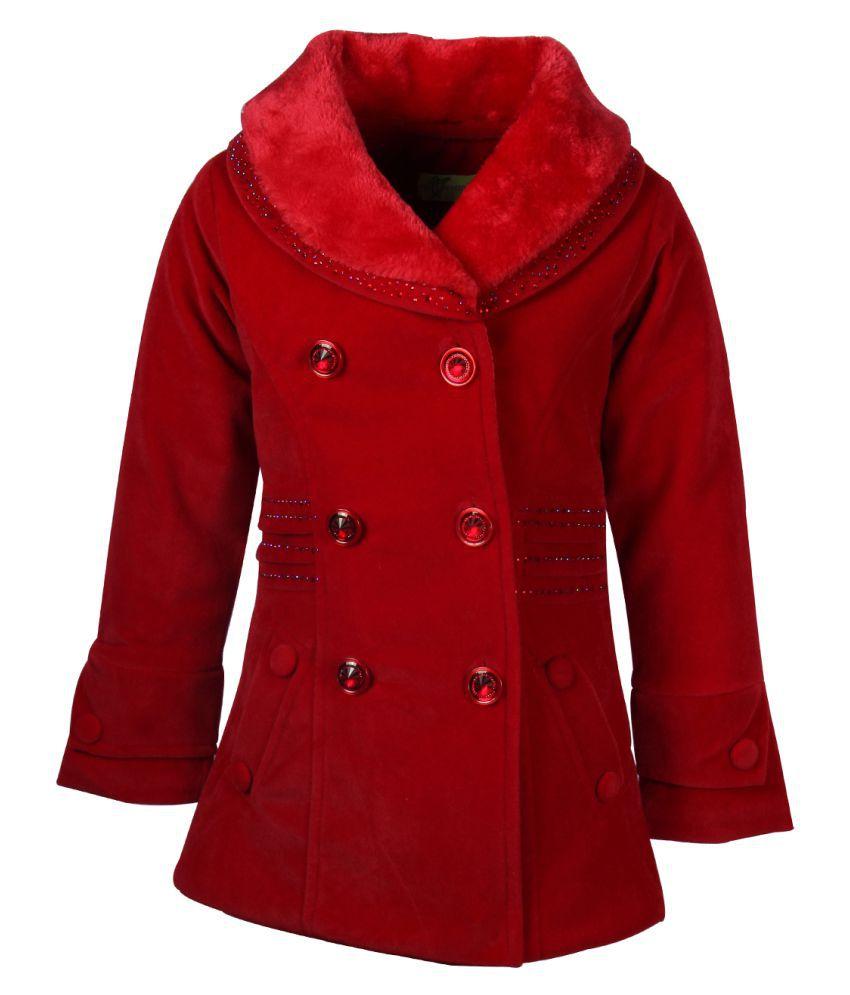 Cutecumber Partywear Winter Girl Red Coat