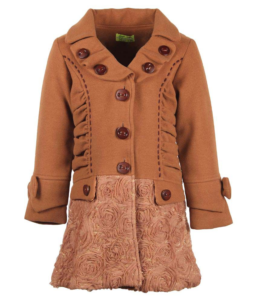 Cutecumber  Partywear Winter  Girls  Brown Jacket
