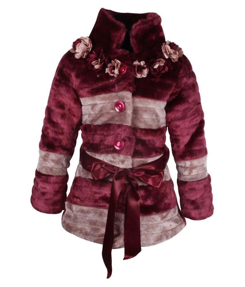 Cutecumber Partywear Winter Girls Plum Jacket