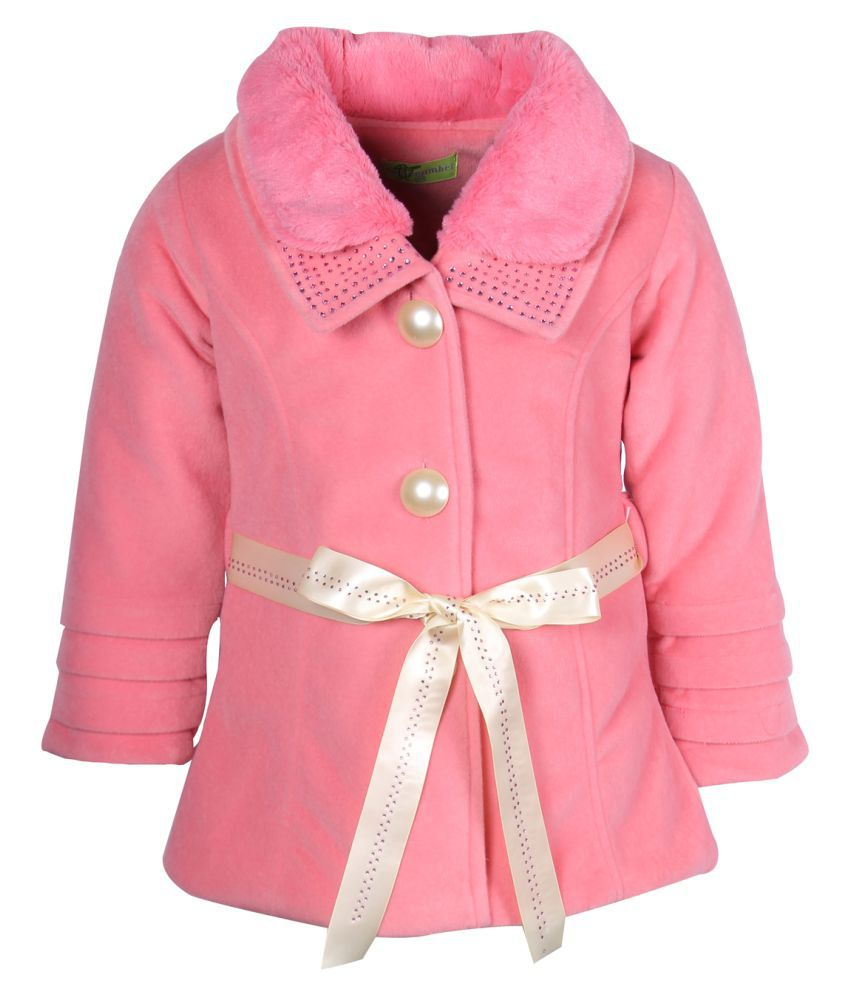 Cutecumber Pink Polyester Medium Jacket for Girls