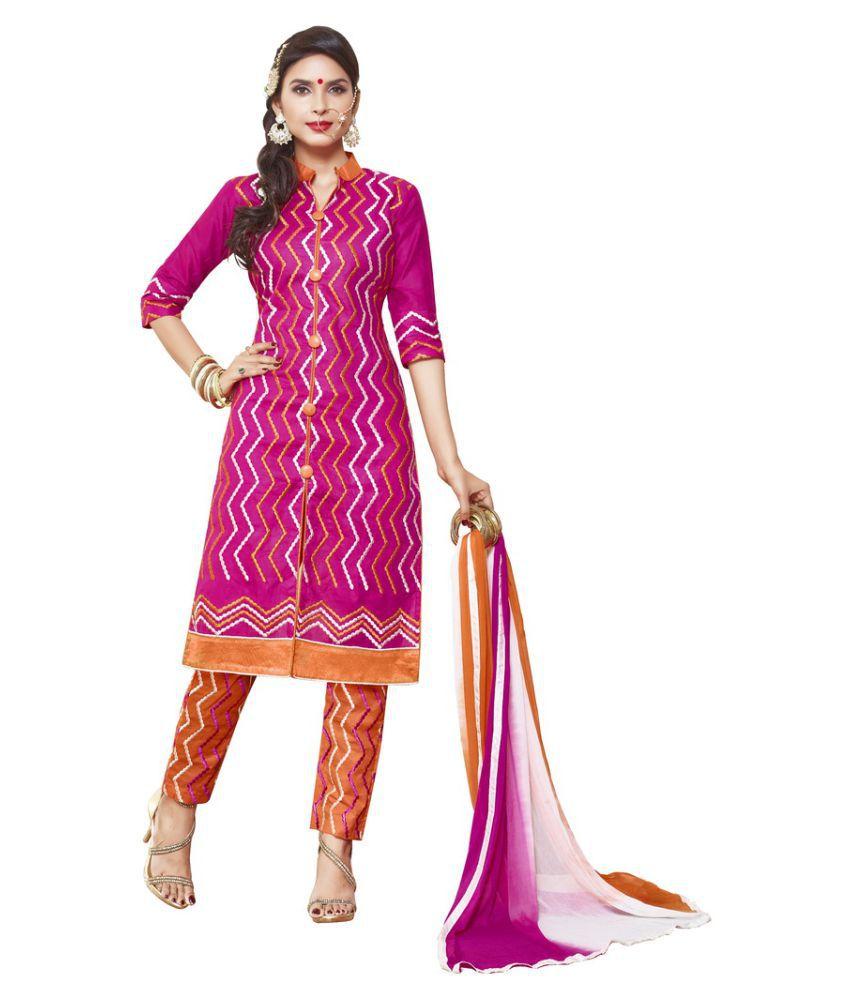 Fabvila Pink Cotton Dress Material