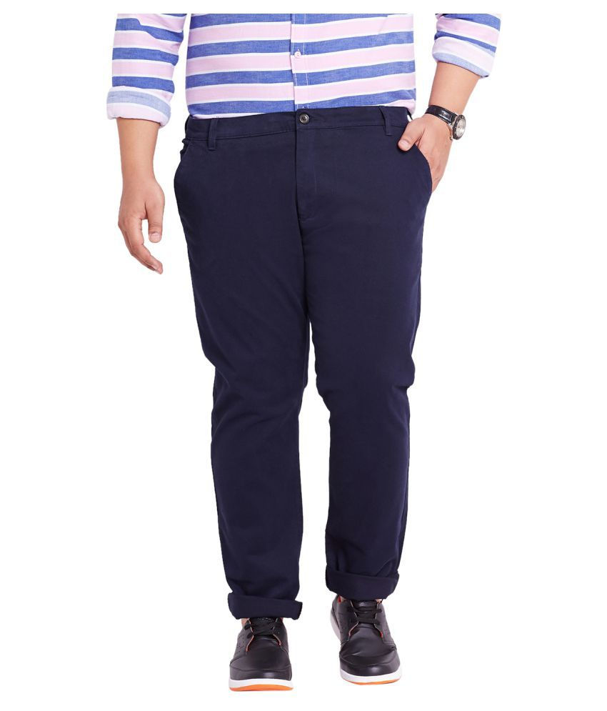 Mike & Smith Blue Slim Flat Trousers