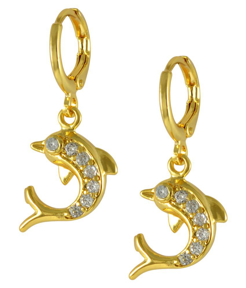 Sarah Golden Alloy Hanging Earrings