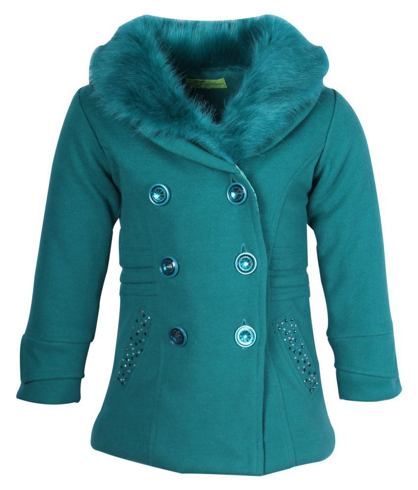 Cutecumber Green Polyester Partywear Winter Girls Coat