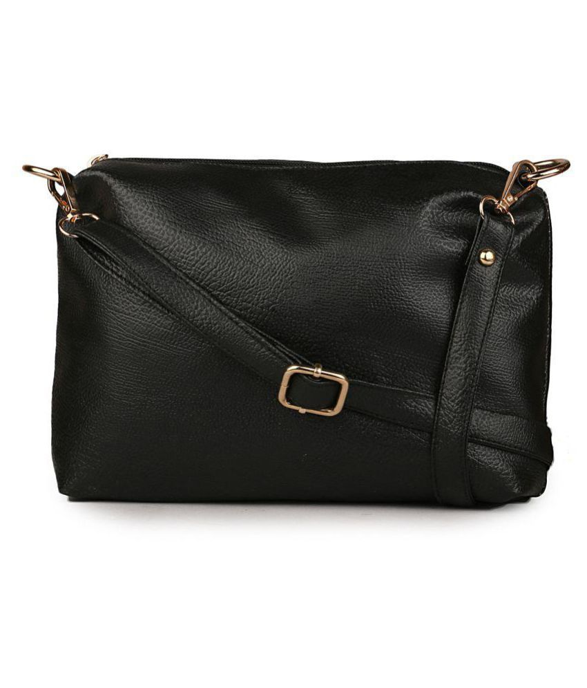 Classic Fashion Black Faux Leather Sling Bag