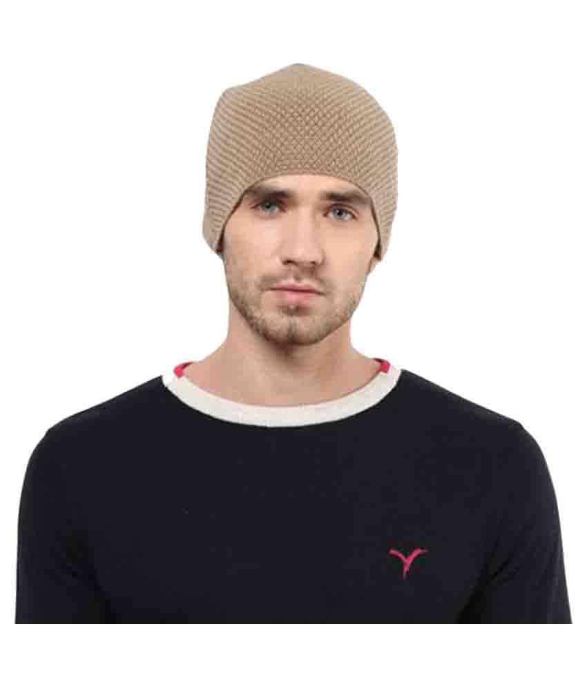 Yuvi Beige Embroidered Wool Caps