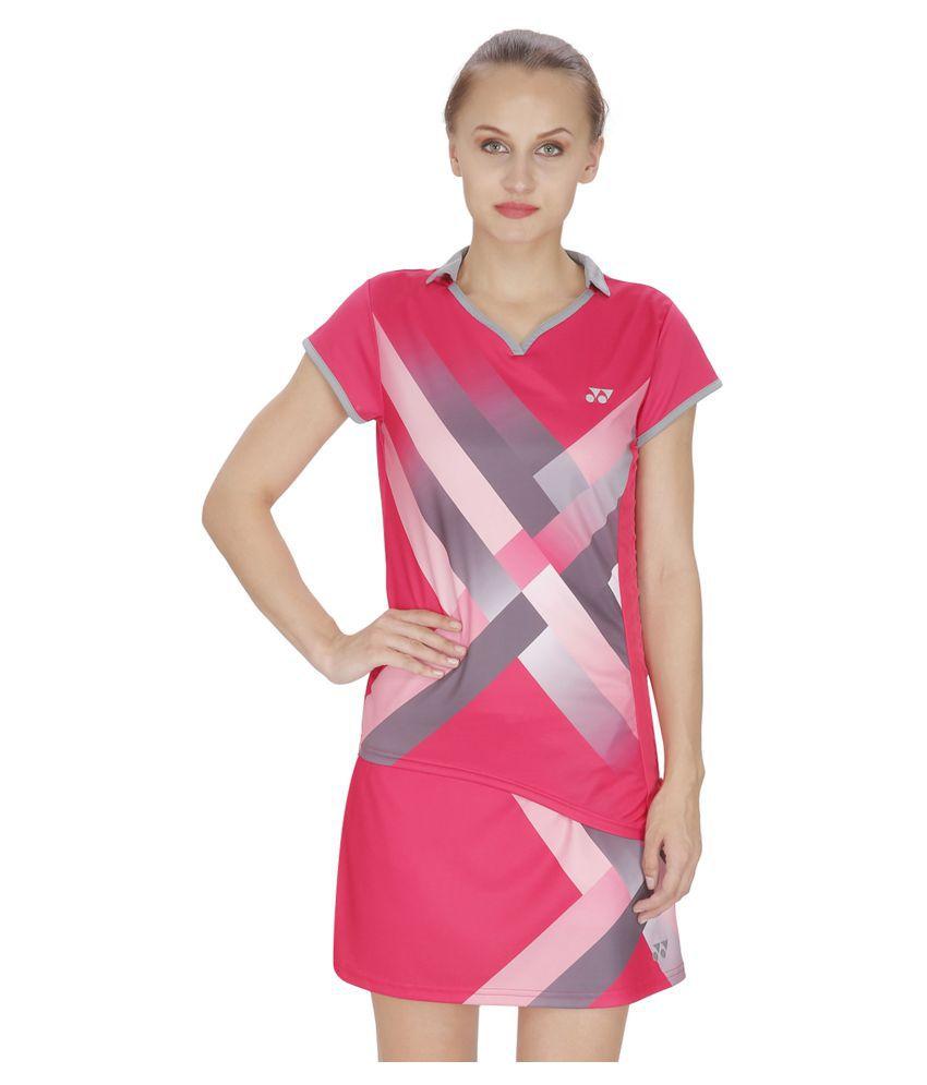 Yonex Pink Polyester Polo T Shirts
