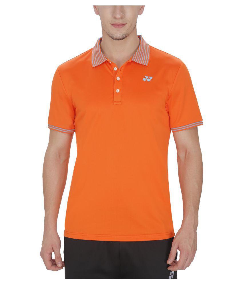 Yonex Orange Polyester Polo T-Shirt