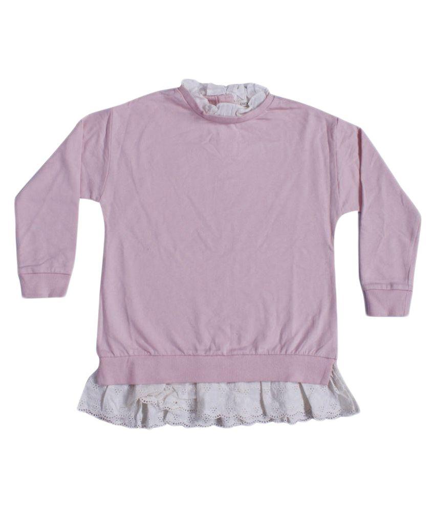 Indirang Girl's Pink Cotton Sweatshirt