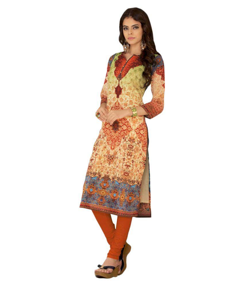 Real Saree Multicoloured Georgette Straight Kurti