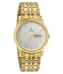 Titan 1636YM01 Golden Analog Men's Watch