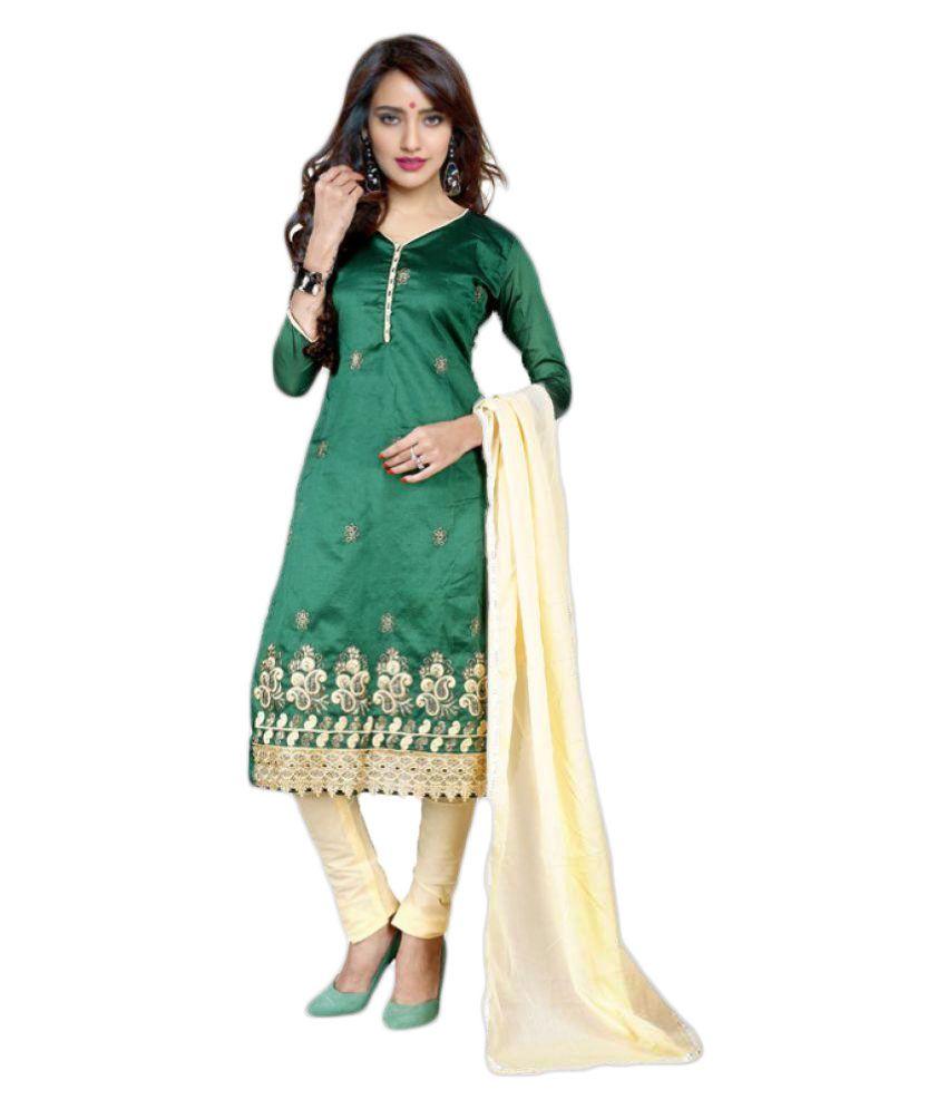 Wama Fashion Green Cotton Dress Material