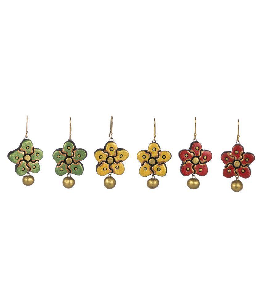 Avarna Multicolor Hanging Terracotta Handcraft 3 Pair Earings