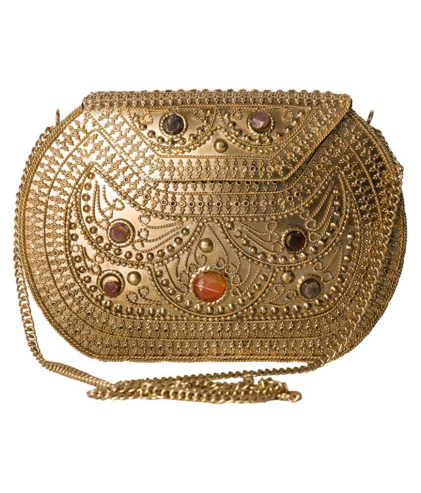Sojanya Gold Metal Box Clutch
