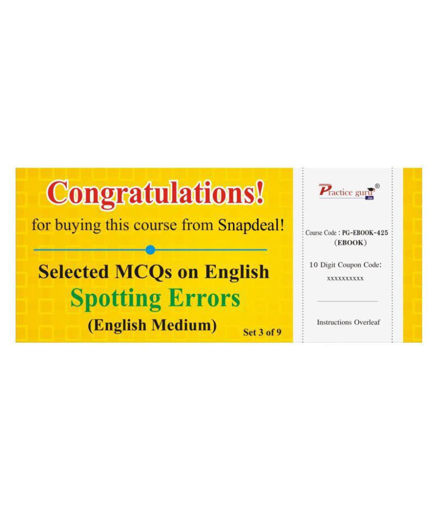 Selected MCQs on English - Spotting Errors Set 3 of 9 License/Redemption Code - Online
