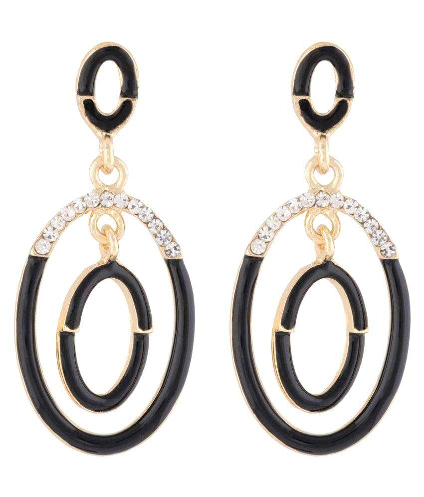 OSF Black Colour Alloy Hangings Earrings