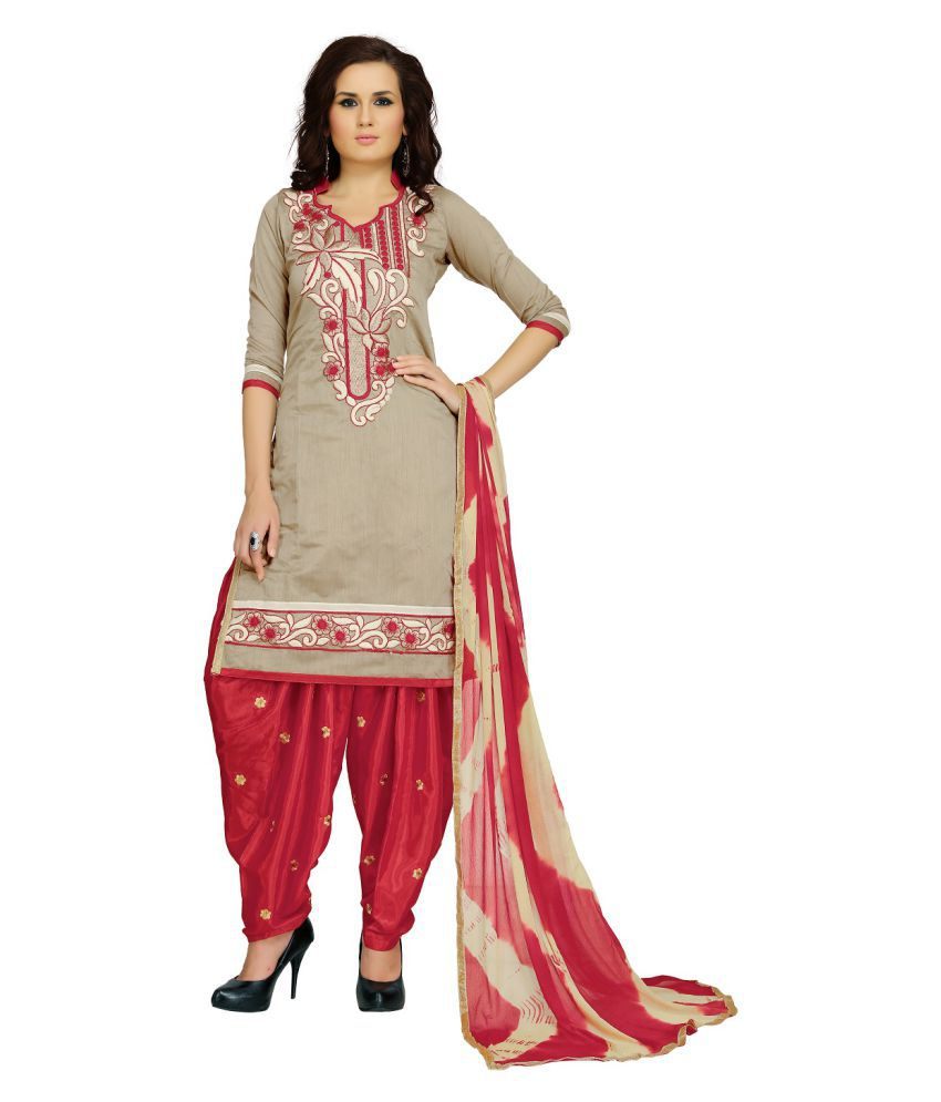 Zoro Silver Chanderi Dress Material
