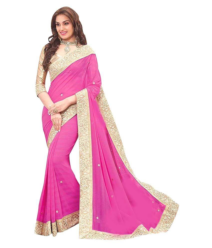 Lajree Designer Pink Chiffon Saree
