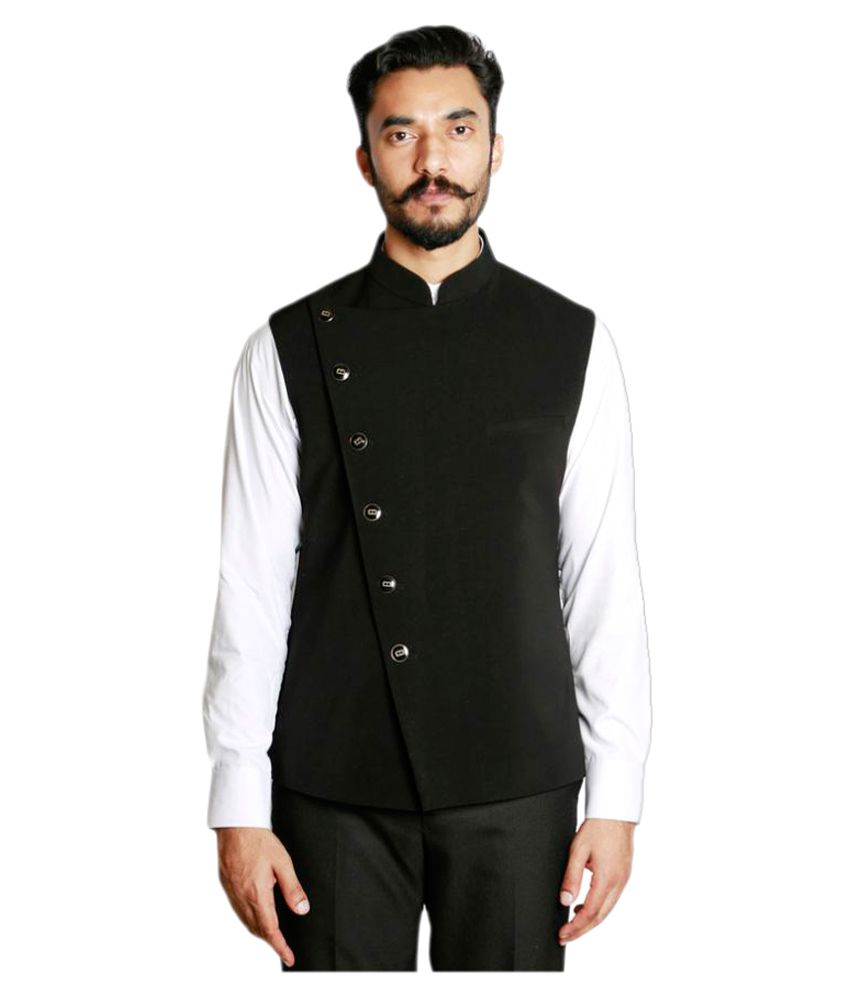 Fusion & Threads Black Plain Formal Blazers