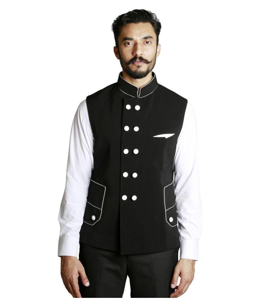 Fusion & Threads Black Plain Formal Blazers