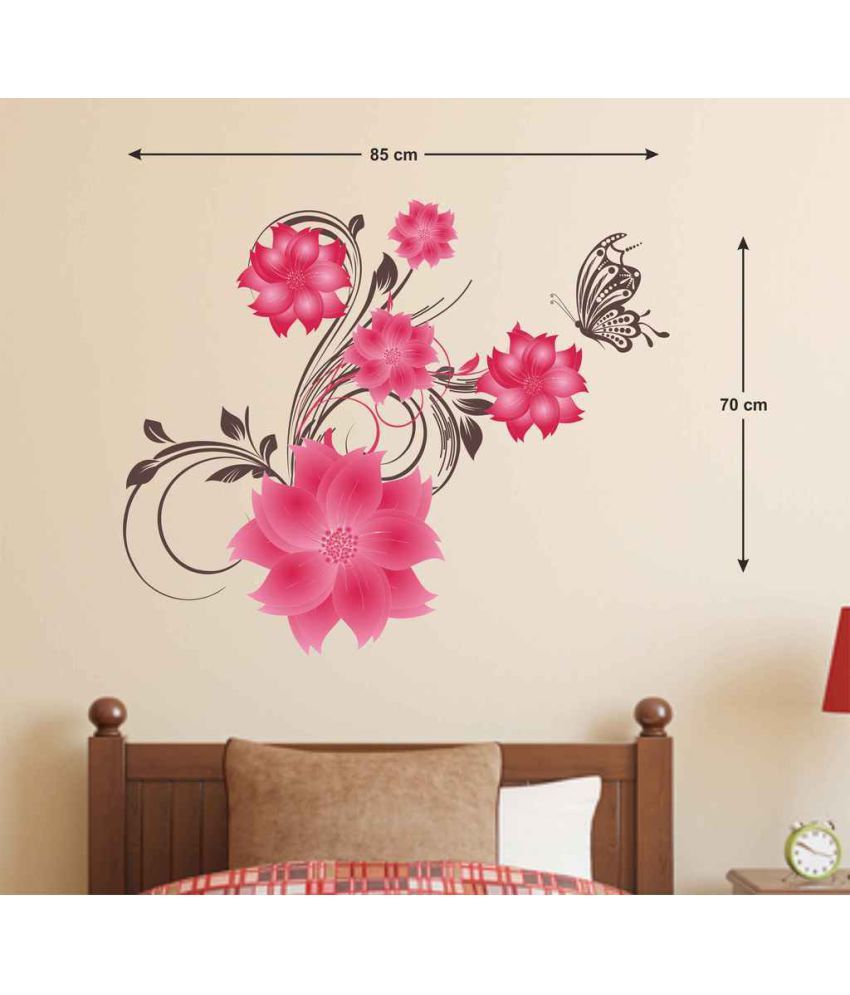 Stickerskart Pink Flowers Leaves Butterfly Nature Lovers Pvc Wall