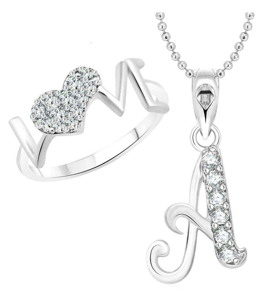 Vighnaharta love ring with initial a alphabet pendant rhodium plated jewellery combo set vighnaharta love ring with initial a alphabet pendant rhodium plated jewellery combo aloadofball Image collections