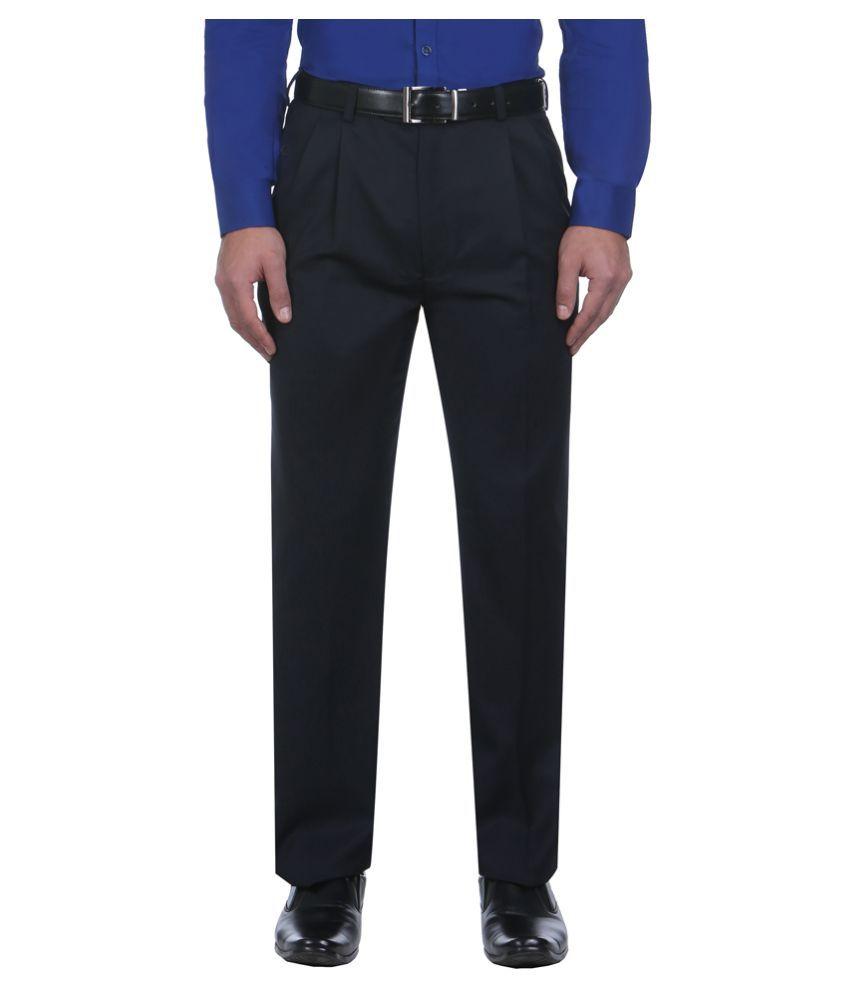 Park Avenue Black Regular Pleated Trousers