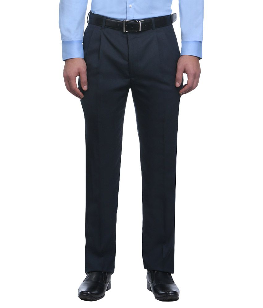 Park Avenue Blue Regular Pleated Trousers