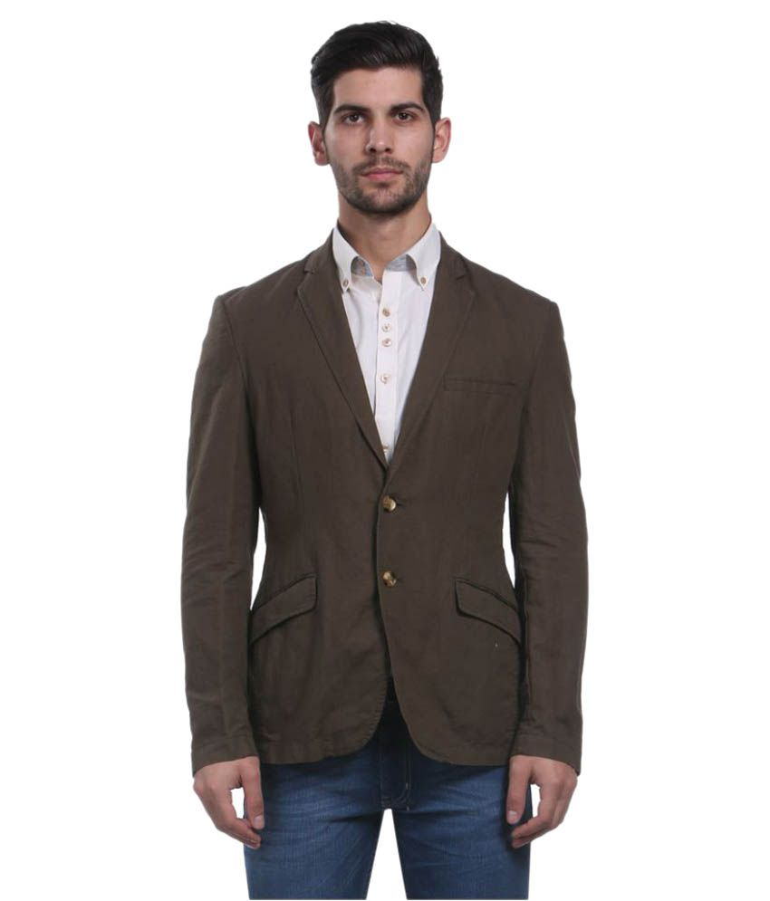 Park Avenue Brown Solid Formal Jackets