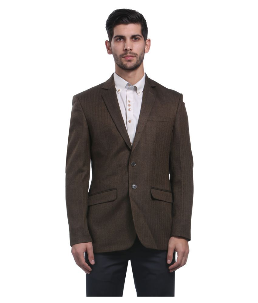 Park Avenue Brown Striped Formal Jackets