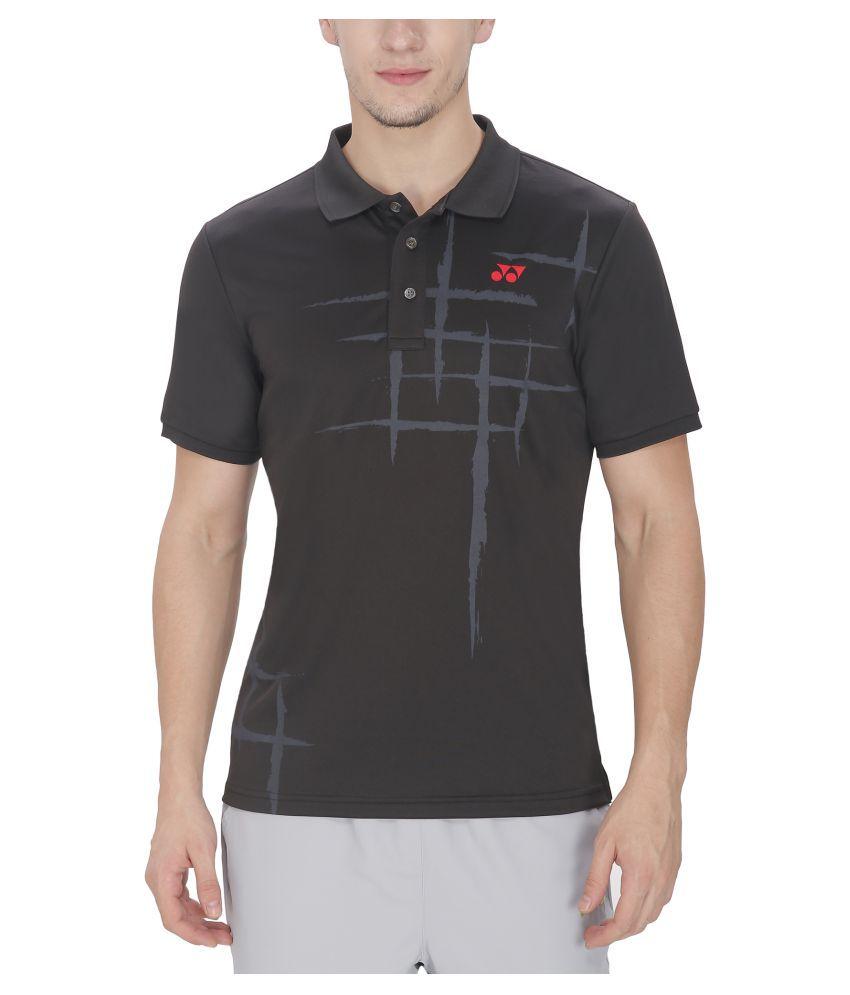 Yonex Black Polyester Polo T Shirt