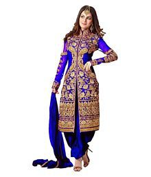Fab Ikshvaku Blue Georgette Sherwani Suits Semi-Stitched Suit