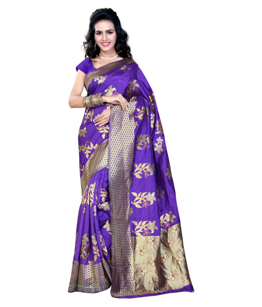 Aksh Fashion Purple Art Silk Saree