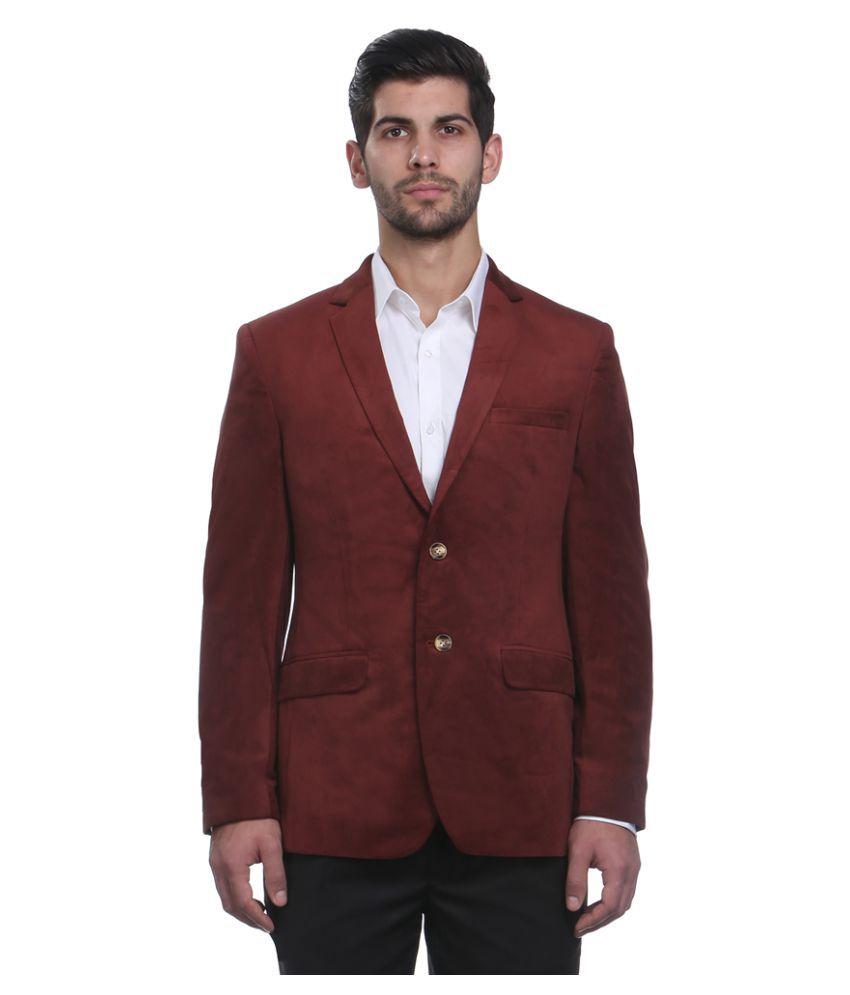 Park Avenue Maroon Solid Formal Blazers