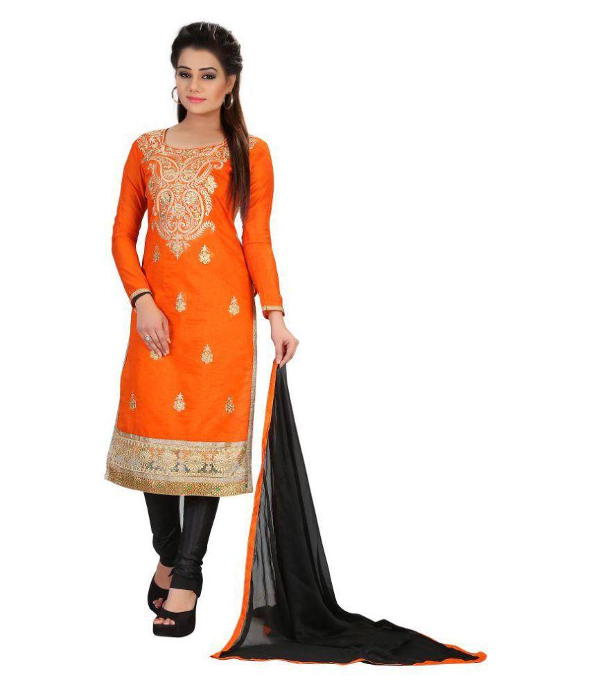 Srushti Silk Mills Orange Cotton Dress Material