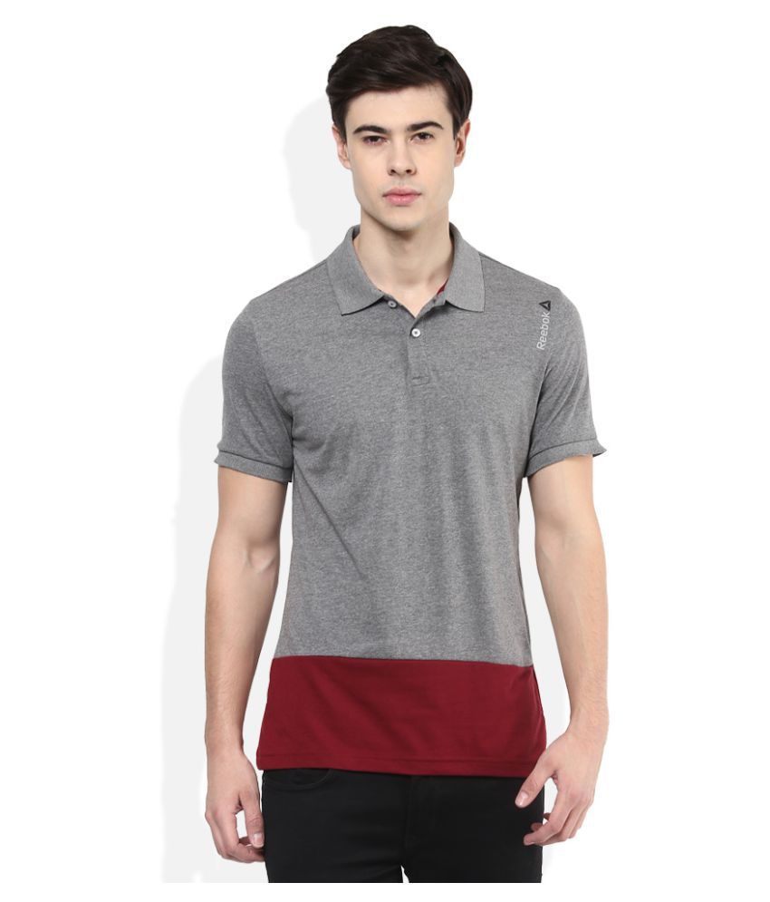 Reebok Grey Regular Fit Polo T Shirt