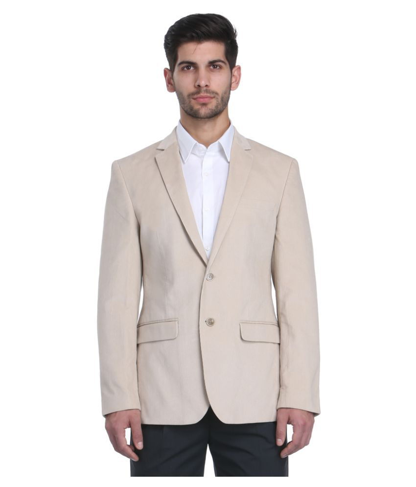 Park Avenue Beige Solid Formal Jackets
