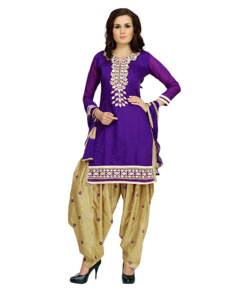 Zoro Blue Chanderi Dress Material