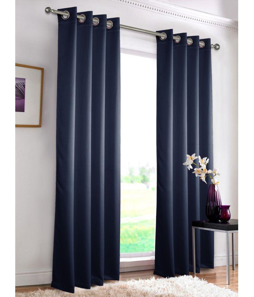 rosara set of 6 door eyelet curtains solid navy blue buy. Black Bedroom Furniture Sets. Home Design Ideas