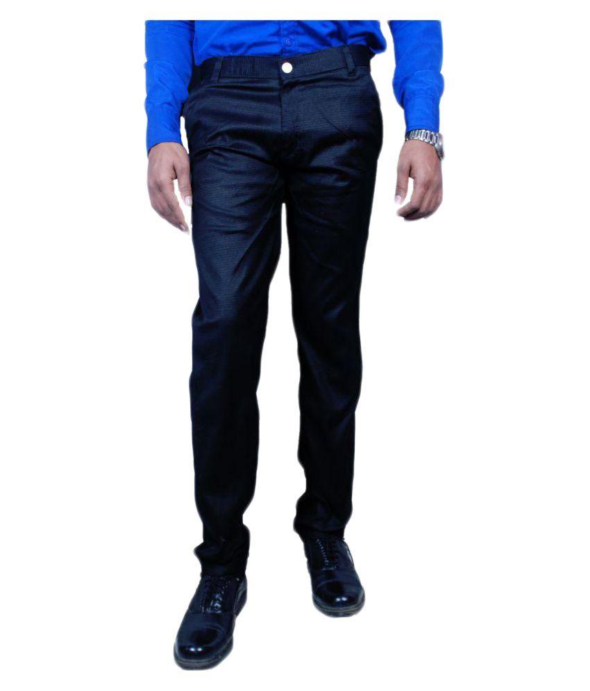 Shree Maa Black Regular Flat Trousers