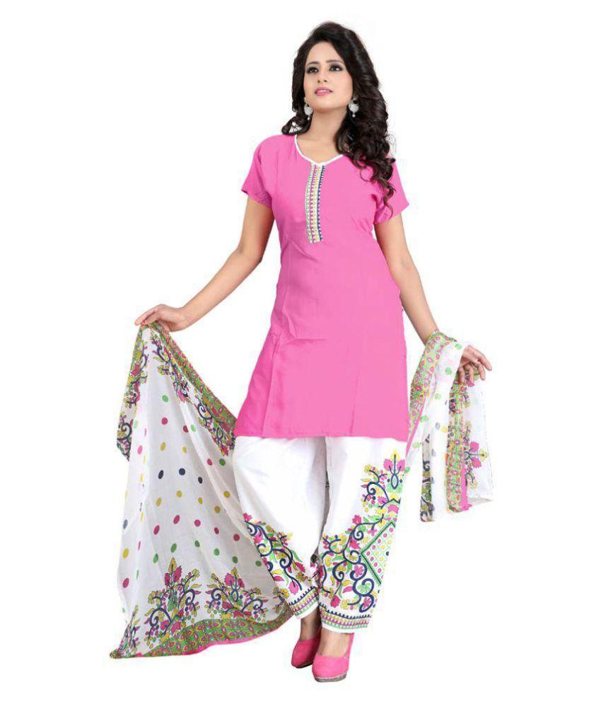 V/S Fashion Pink Chiffon Dress Material