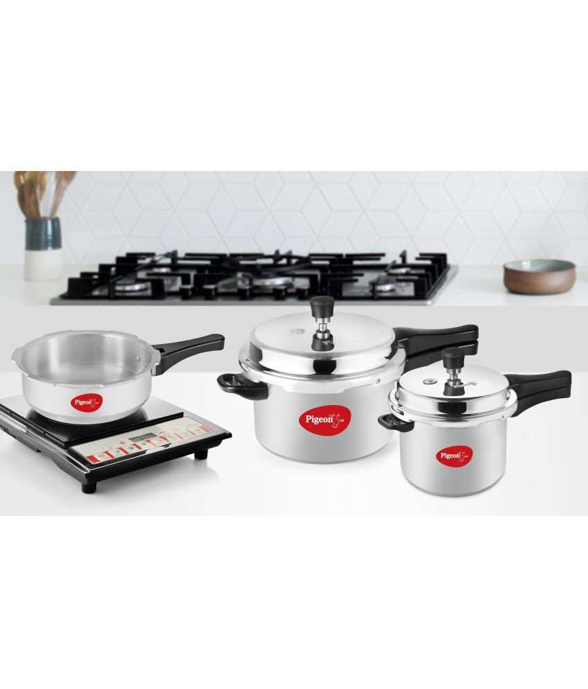 18fed5815 Pigeon Set of 3 Pressure Cooker Combo-Induction Bottom- 5L