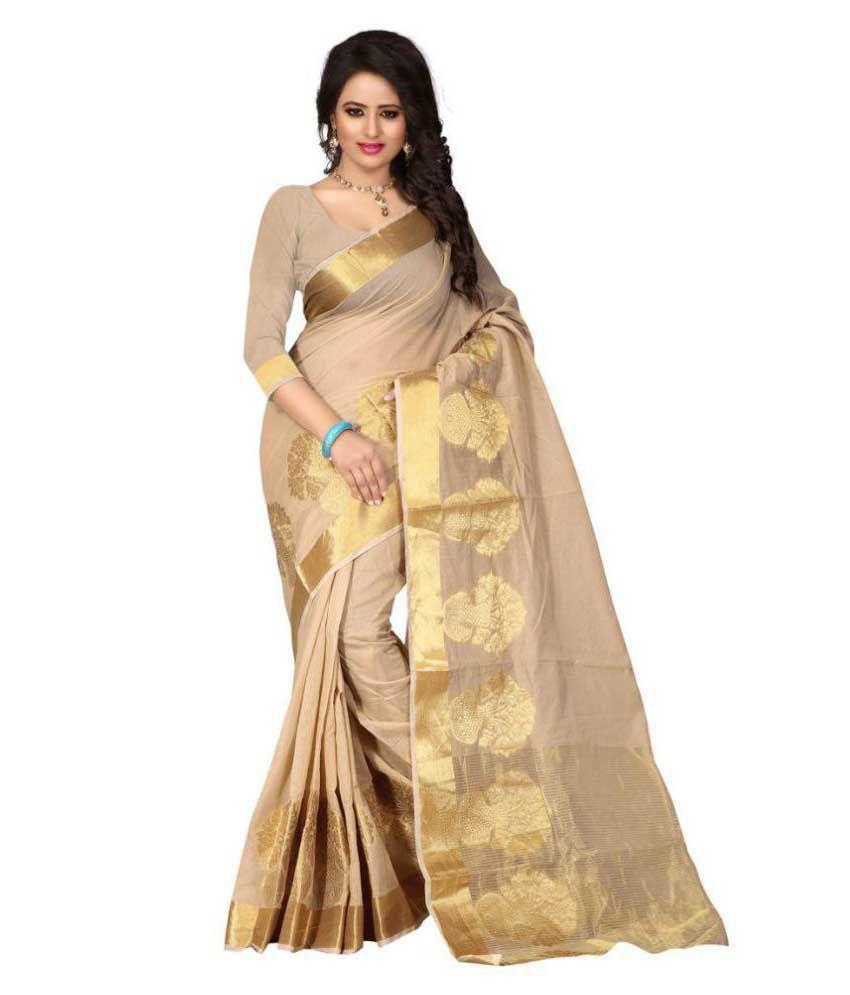 Fashion Forever Beige Cotton Saree