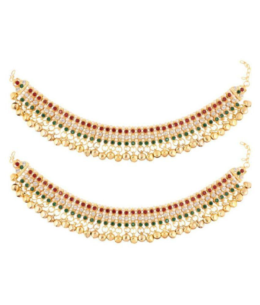 Jewels Gehna Multi Color Alloy Anklet Pair For Woman & Girls