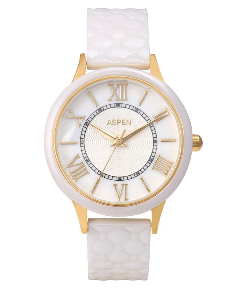Aspen Ladies White Color Dial With Mother of Pearl Ceramic Collection Watch For Casual Use