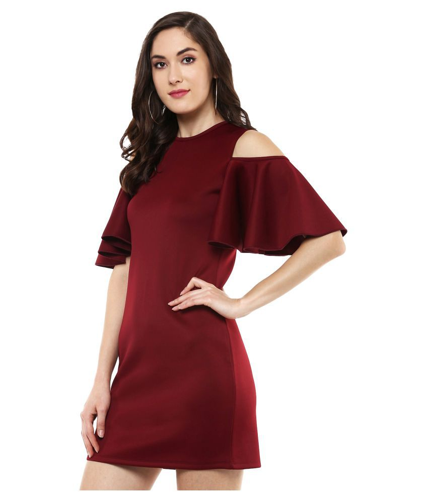 e75b0dfbe2 SASSAFRAS Maroon Cold Shoulder Scuba Dress - Buy SASSAFRAS Maroon Cold  Shoulder Scuba Dress Online at Best Prices in India on Snapdeal