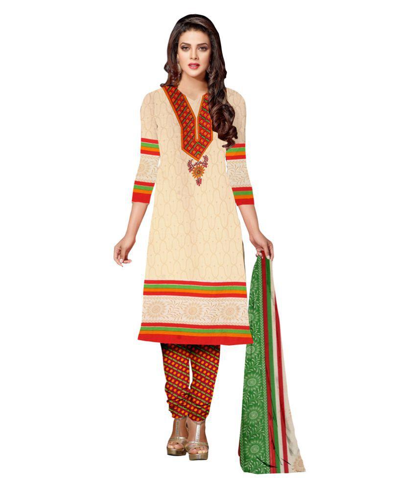 Jiya Beige Crepe Dress Material